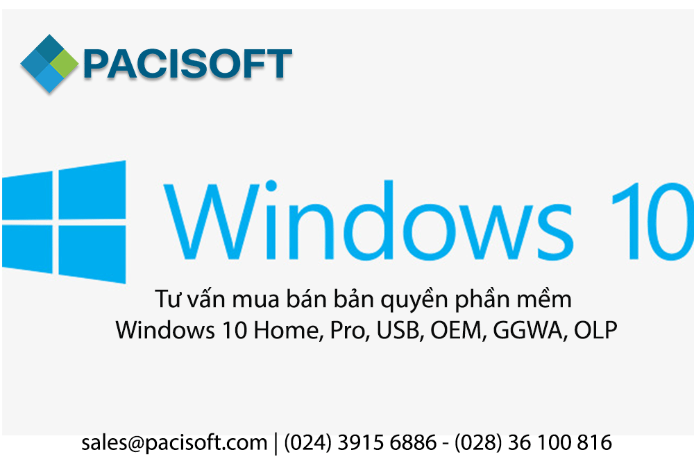 Tư vấn mua bán bản quyền phần mềm Windows 10 Home, Pro, USB, OEM, GGWA, OLP