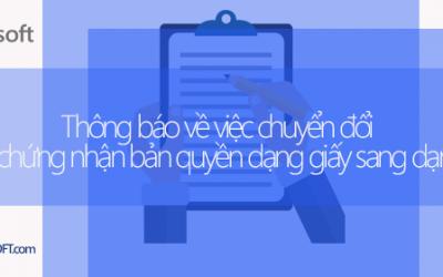 Thông báo về việc chuyển đổi hình thức chứng nhận bản quyền dạng giấy sang dạng điện tử