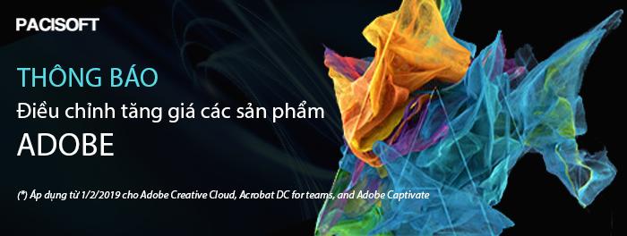 Thông báo điều chỉnh tăng giá các sản phẩm Adobe