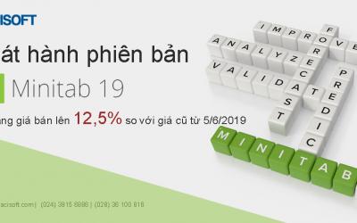 Phát hành phiên bản Minitab 19 và giá bán bản quyền tăng 12,5 % so với giá cũ