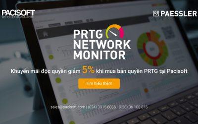 Khuyến mãi độc quyền giảm 5% khi mua bản quyền PRTG tại Pacisoft
