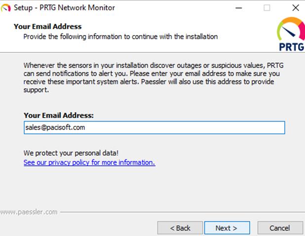 cách cài PRTG nhập mail