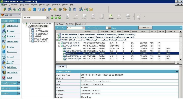 Cửa sổ tập trung của Arcserve Backup