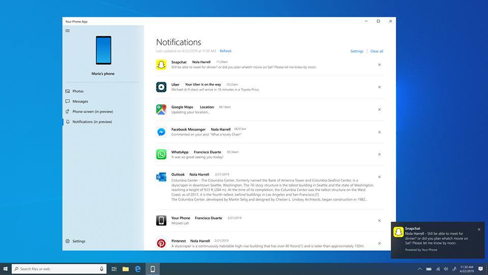 Tính năng Your phone trên Windows 10 bản cập nhật tháng 10/2019