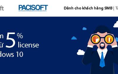 Giảm 5% khi mua từ 5 license Windows 10 – Khuyến mãi Microsoft Quý 4 FY19