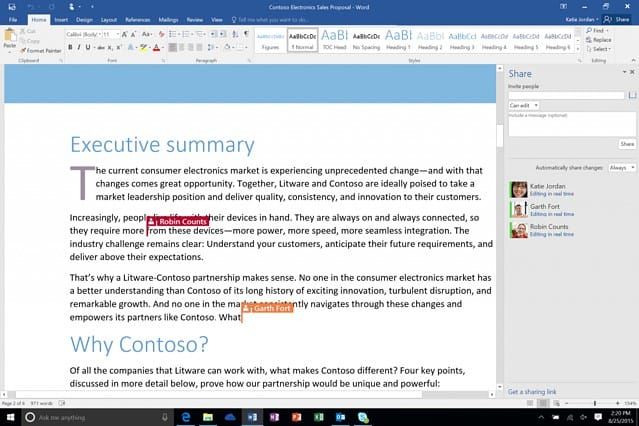 office 365 Real-Time Co-Authoring