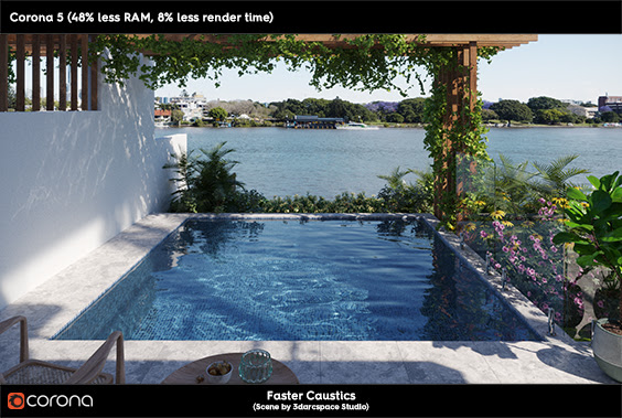 Corona Renderer 5 for 3ds Max faster caustics